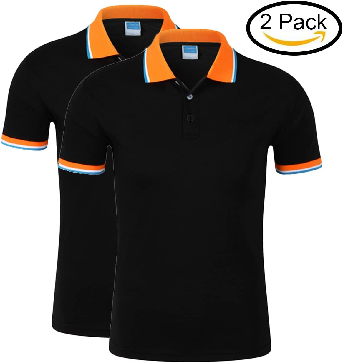 MTTROLI Polo camisetas para mujer, Ladies Polo camisas manga corta Slim fit algodón ropa deportiva Tops 2 unidades, mujer, color Black (Pack of 2), tamaño L/38.58