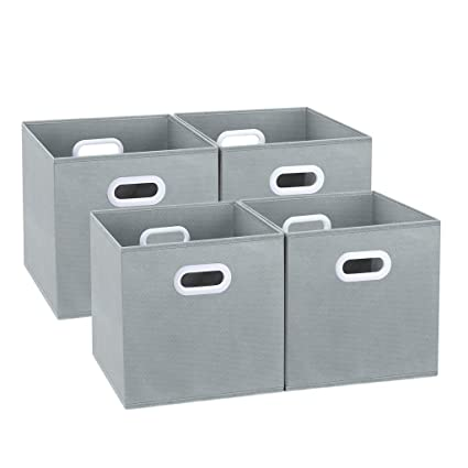 012a8ff441d LANGRIA Foldable Cube Storage Bins with Dual Handles and Cardboard Bottom