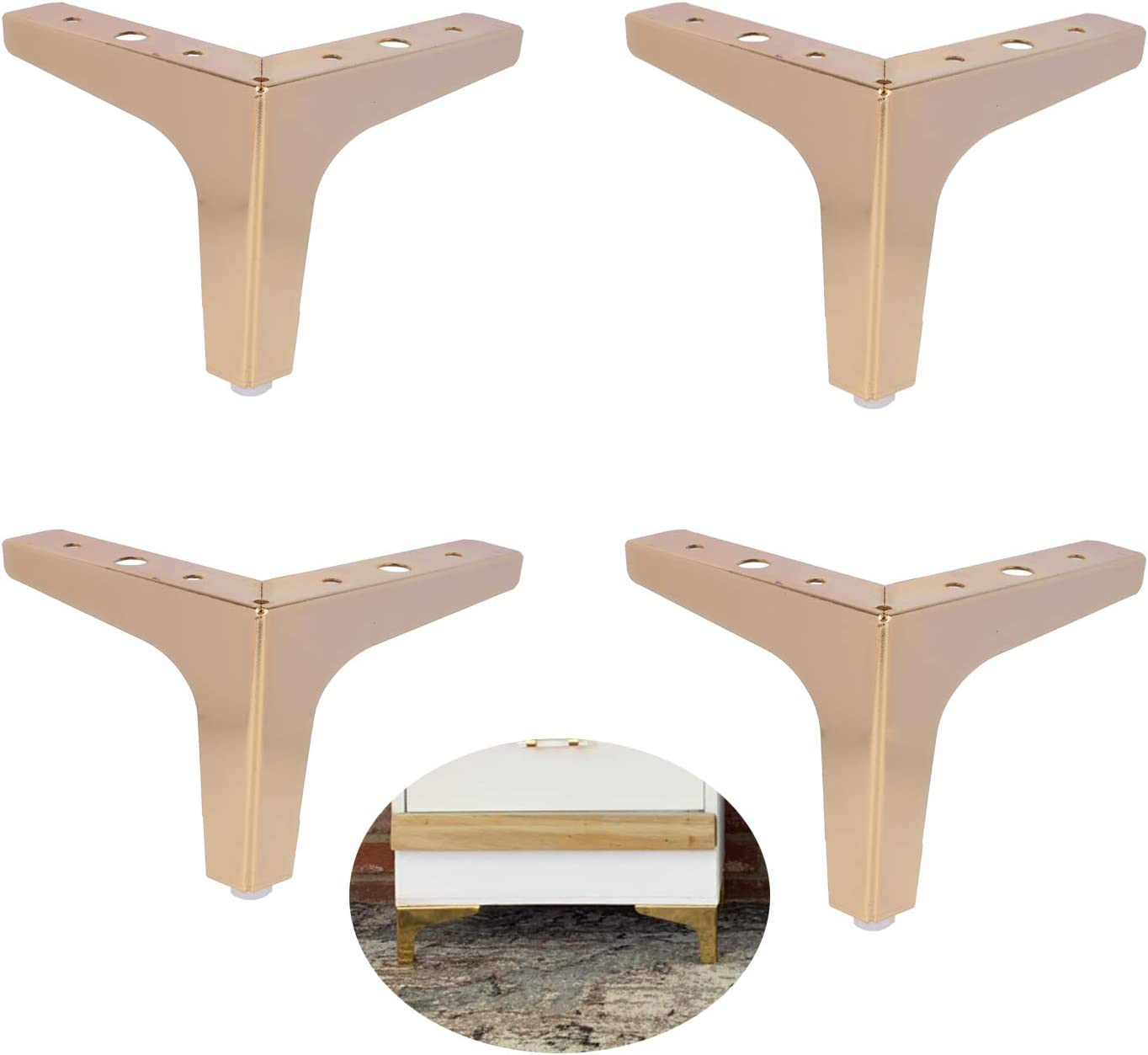 ALXEH 4 Inch Steel Furniture Table Legs Gold, 4pcs Metal Furniture Sofa Feet as DIY Furniture Leg Replacement, Great for Cabinet, Cupboard and Couch