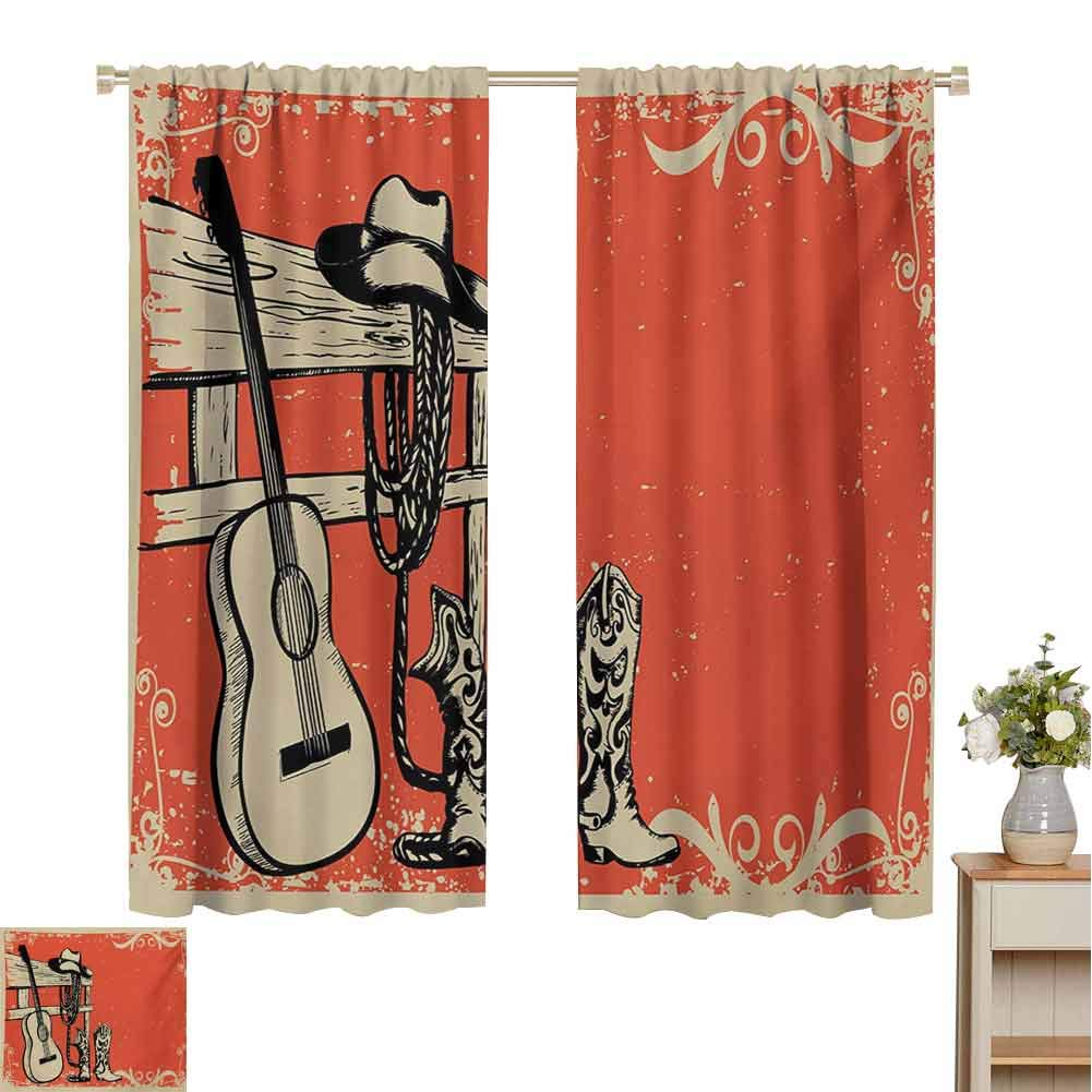 Gloria Johnson Westerncurtains for Living roomImage of Wild West Elements with Country Music Guitar and Cowboy Boots Retro Artdrapes panelsBeige Orange55 x 63 inch by Gloria Johnson