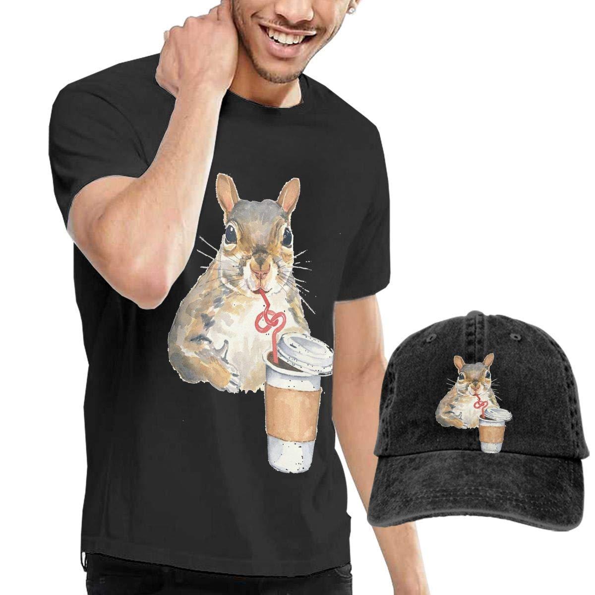 YLJIA Dress Cute Squirrel Loves Coffee Mens Casual Short Sleeve Slim-Fit T-Shirt /& Baseball Caps Black 33