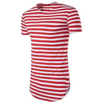 FeN Camisetas para Hombres Moda Cuello Redondo Manga Corta Hip Hop High Street Camisa Casual Rayas