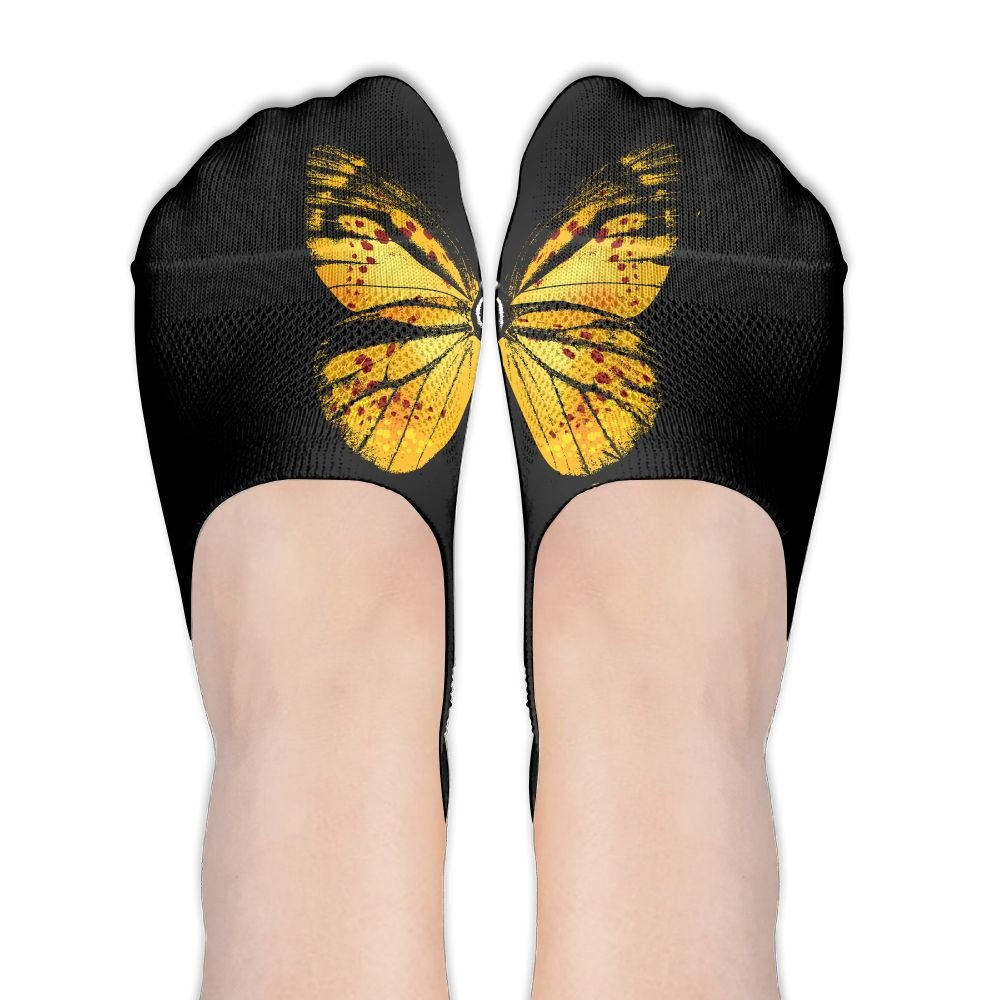 Yellow Butterfly Retro Style Women's Thin Casual No Show Socks Non Slip Flat Boat Line