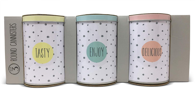 Enjoy White With Grey Dots and Pastel Coloured Lids Tasty Lot de 3 bo/îtes de rangement en acier inoxydable avec slogan peint pour th/é sucre Delicious caf/é etc