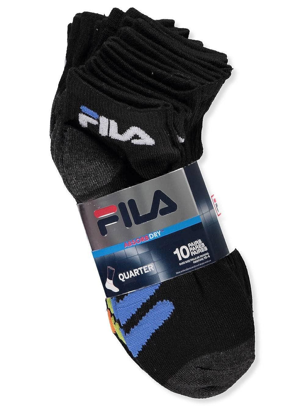 Amazon.com: Fila Little Boys 10-Pack Quarter Crew Socks - black, 6-8: Clothing