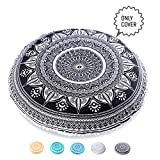 Mandala Life ART Bohemian Decor Floor Cushion Cover - Round Meditation Pillow Pouf - 100% Hand Printed Organic Cotton by (Black Ganesha)
