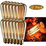 INNOCCY Edison Light Bulb , 60W E26 E27 Vintage Bulb Dimmable ST64 Antique Squirrel Cage Light , 2300K , 370 Lumens , Pack Of 12