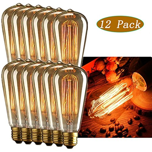 - INNOCCY Edison Light Bulb , 60W E26 E27 Vintage Bulb Dimmable ST64 Antique Squirrel Cage Light , 2300K , 370 Lumens , Pack Of 12