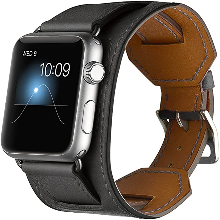 Valkit Compatible Apple Watch Bands 38mm 40mm Genuine Leather Strap Replacement Wristband with Stainless Steel Adapter Metal Clasp Replacement for Apple iWatch 4 3 2 1, Cuff - Black