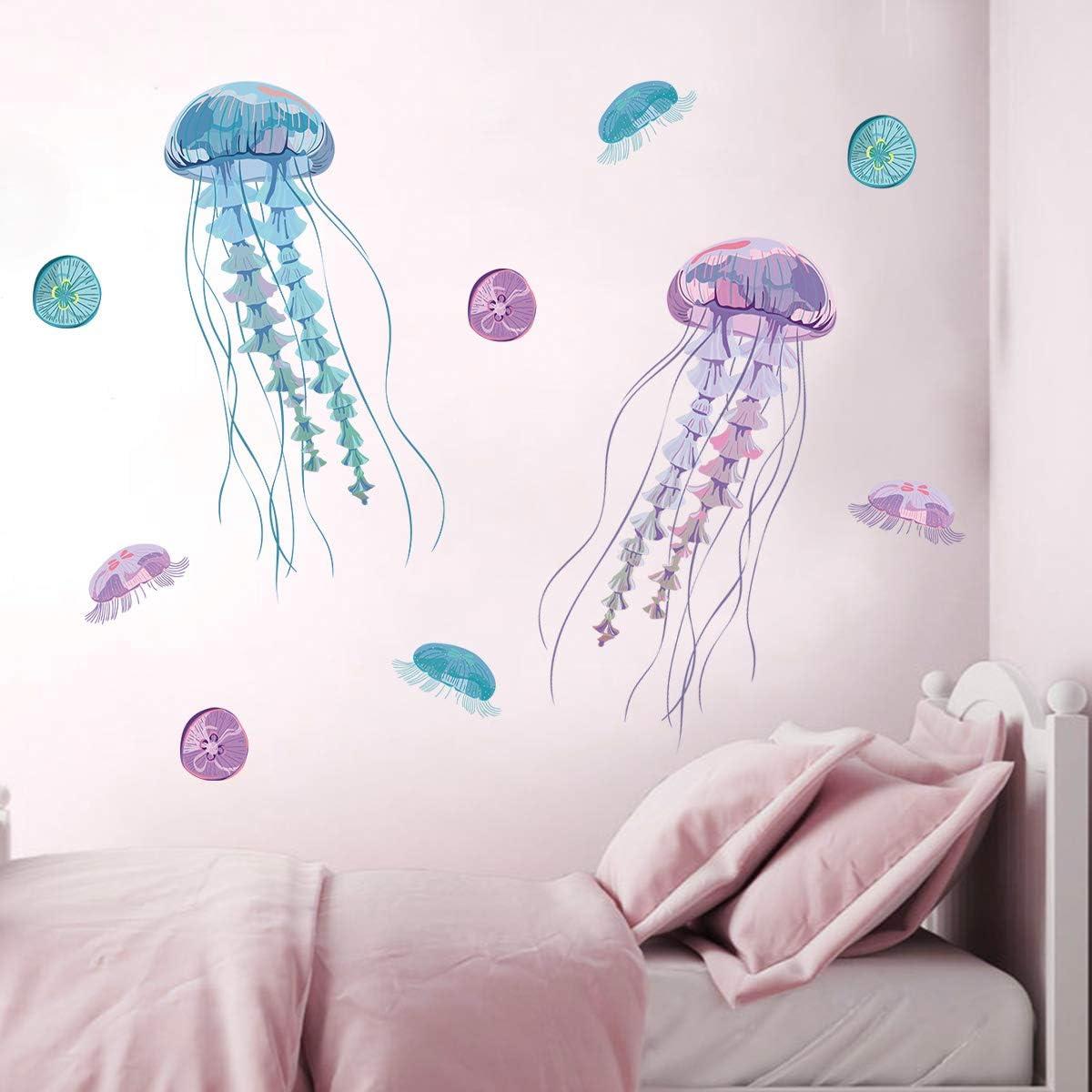 decalmile Stickers Muraux M/éduse Color/ée Autocollant D/écoratifs Salon Bureau Chambre B/éb/é Enfants P/épini/ère
