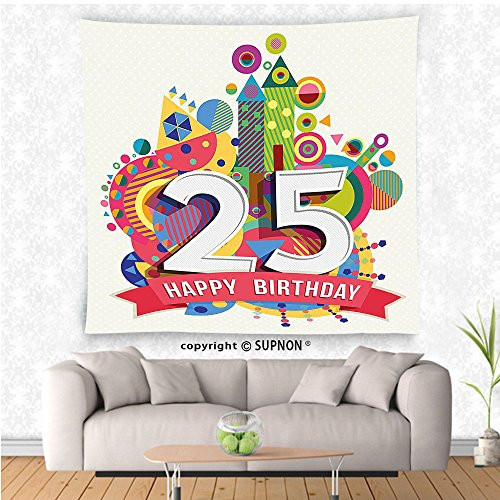 VROSELV custom tapestry 25th Birthday Decorations Tapestry Fun Celebration Greeting Card Inspired with Number Text Label Wall Hanging for Bedroom Living Room Dorm (Hanging French Purse)