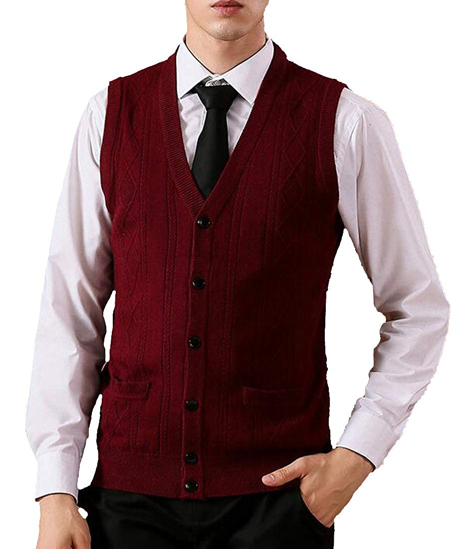 Pandapang Mens Sweater Waistcoat Solid V-Neck Knitted Cardigan Vest