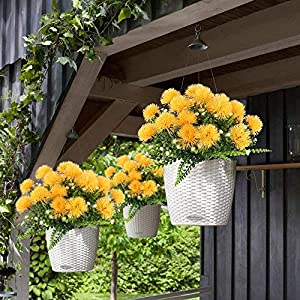 MARJON Flowers4PCS Artificial Flowers Fake Plastic Flowering Plants Faux Shrub Bundle Table Floral Centerpieces Arrangements Home Kitchen Office Windowsill Decorations 3