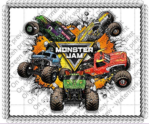 Monster Jam Trucks Edible Cake Topper Image Decoration Sugar -