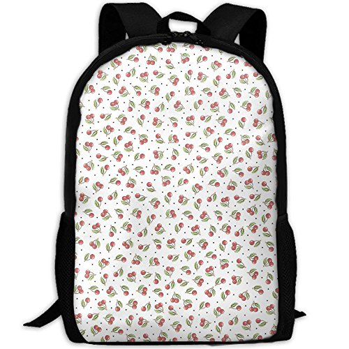 Cherry Pattern Adult Backpack College Daypack Oxford Bag Unisex Business Travel Sports - Creek Mall Cherry Shops At