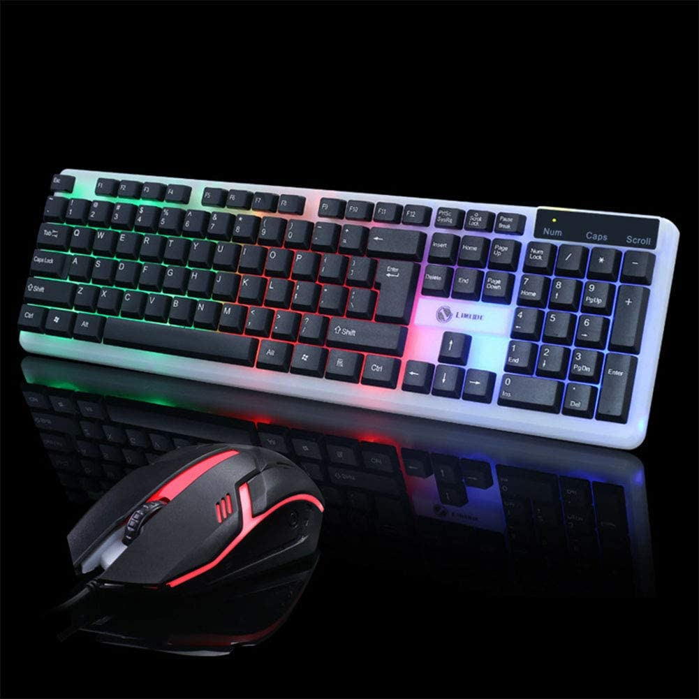 Mouse Set for Laptop Computer Backlit Keyboard Black Alician Wired USB PC Gamer Mechanical Feel Keyboard