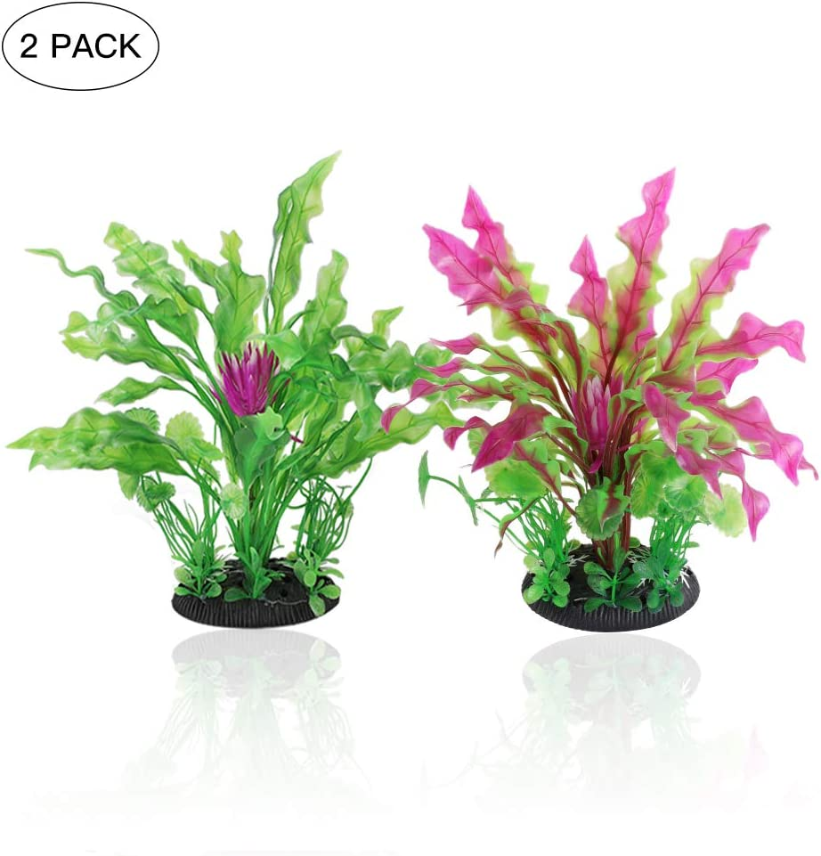 Artificial Aquarium Plants,Tancano Aquarium Decoration Ornaments 2 Pack Lifelike Aquatic Plant for Fish Tank, 9.45 Inches Plastic Plants Safe for All Fish & Pets for Home Office Indoor Aquarium Supply