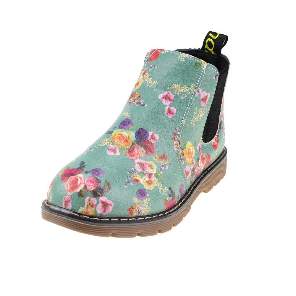 Boy's Girl's Floral Ankle Boots, Waterproof Side Zipper Rain Shoes, Gray, 6.5 M US Toddler
