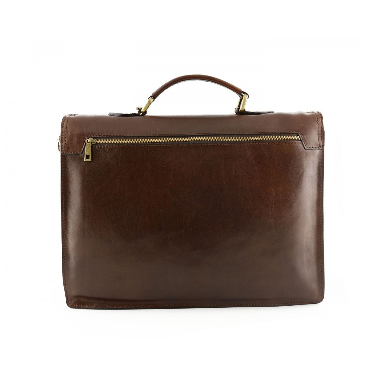 Business Briefcase in Genuine Leather 3 Compartments Color Brown