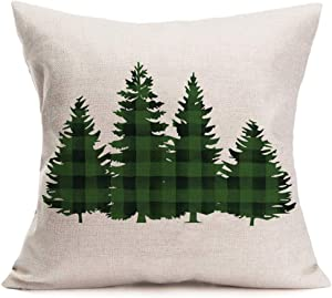Doitely Green Buffalo Plaid Christmas Trees Pillow Cover 18 x 18 Inch Winter Holiday Cotton Linen Cushion Case Xmas Decoration for Sofa Couch