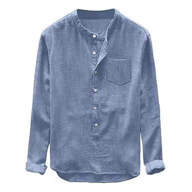 Ample Henley Tops T Grande Manches Alaso Yoga Tees À Chemise Plage Shirts Taille Blouse Coton Homme De En Longues Lin hdrstQ