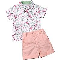 Conjunto de ropa de verano para bebés y niños, a rayas, camisas+pantalones cortos, 2 piezas