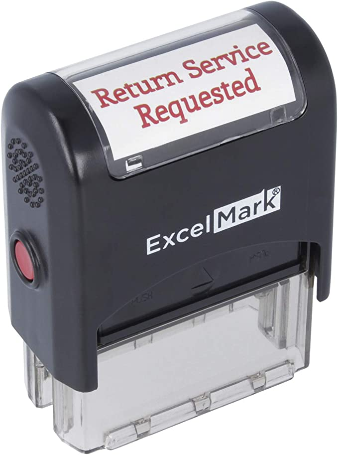 RETURN SERVICE REQUESTED ExcelMark A1539 Self Inking Rubber Stamp Red Ink