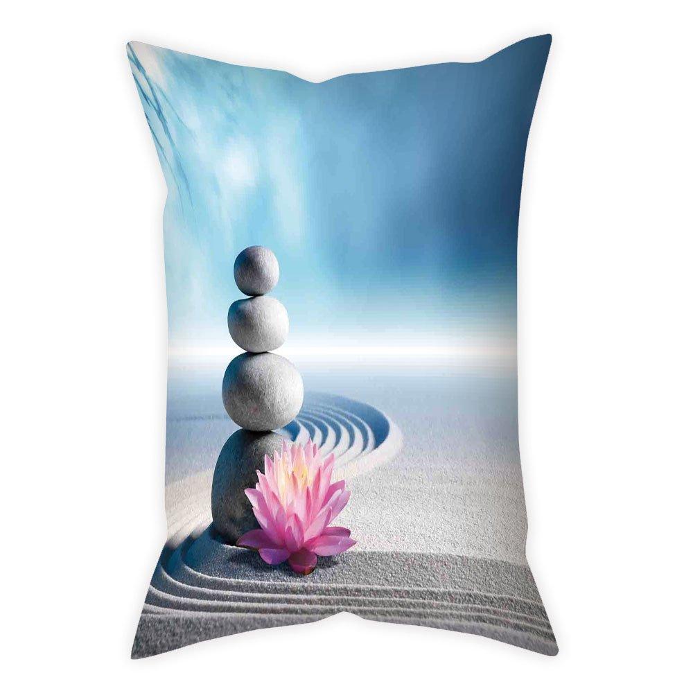 iPrint Microfiber Throw Pillow Cushion Cover,Spa Decor,Stones and Lotus Flower over Sand Meditation Harmony Balance Flourish Your Spirit Theme,Grey Blue Pink,Decorative Square Accent Pillow Case
