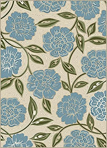 Homemusthaves New Modern Floral Design Multi Color Blue Beige Green Polyester Bedroom Living Room Area Rug Carpet (5x7 (Blue And Green Bedroom Rugs)