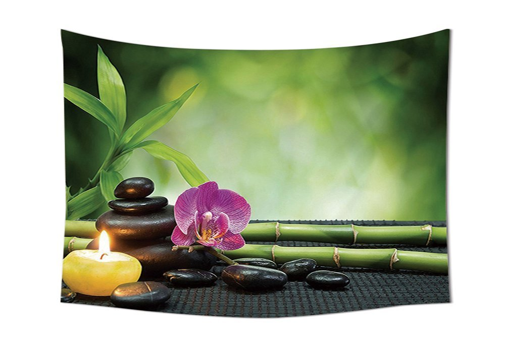 asddcdfdd Spa Decor Tapestry Wall Hanging Orchid Bamboo Stems Chakra Stones Japanese Alternative Feng Shui Elements Therapy Design Bedroom Living Room Dorm Decor Green Black
