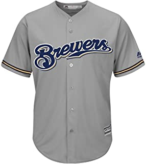 Majestic MLB Béisbol Camiseta Jersey Milwaukee Brewers Cool Base Gris