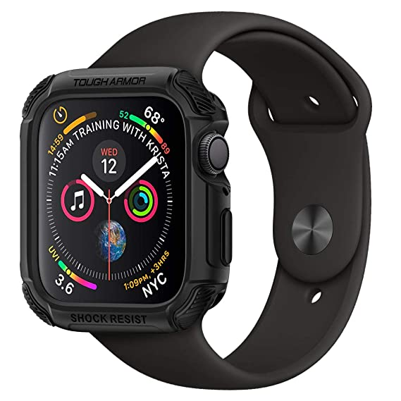 cheap for discount a5f61 d111a Spigen [Tough Armor Apple Watch Series 4 Case (44mm) [Black] TPU PC Dual  Layer Hybrid Slim Protection Resilient Shock Absorption Scratch Resistant  ...