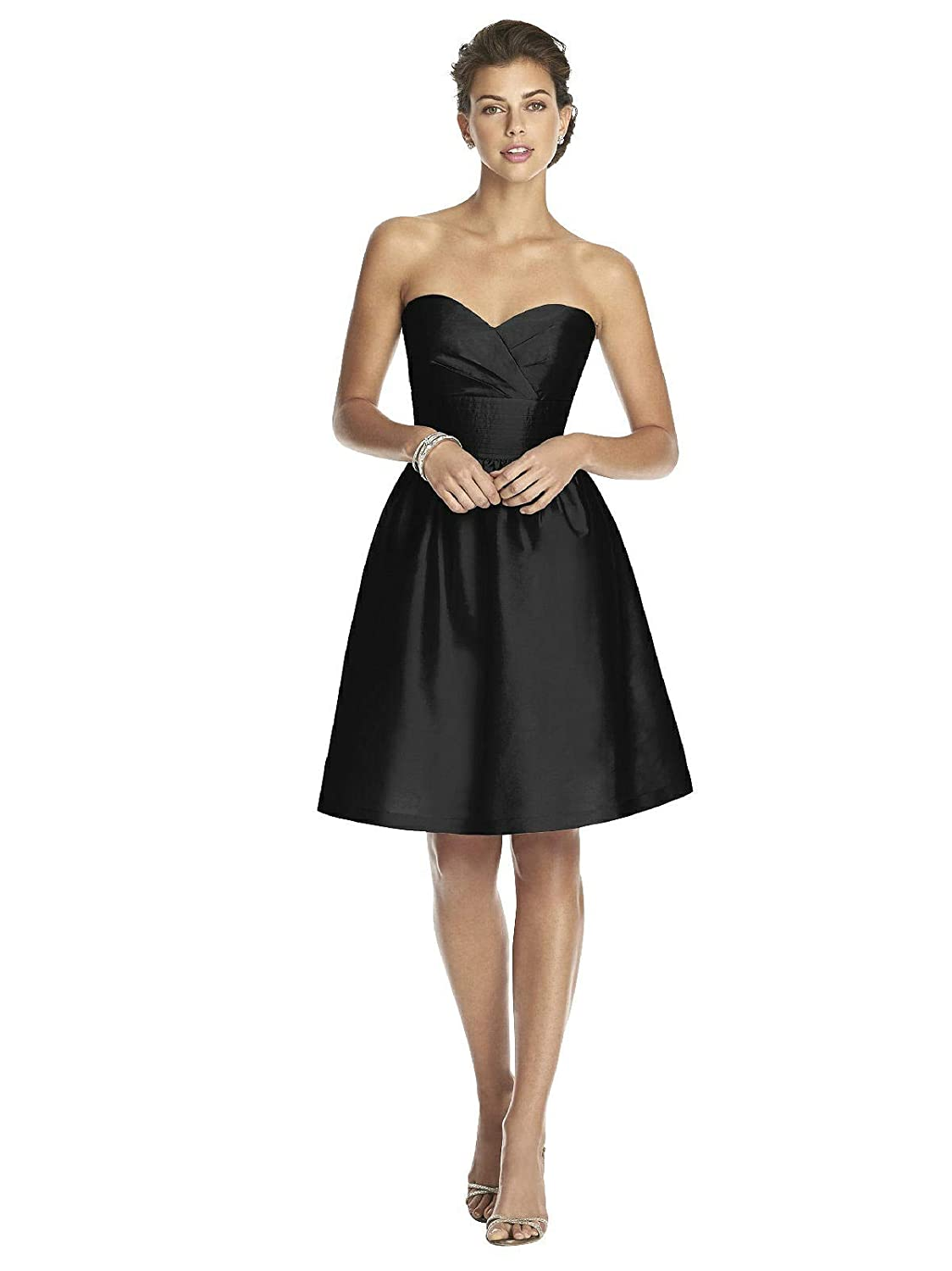 Size 10 Alfred Sung Womens Strapless Cocktail Length Peau De Soie Dress by Black