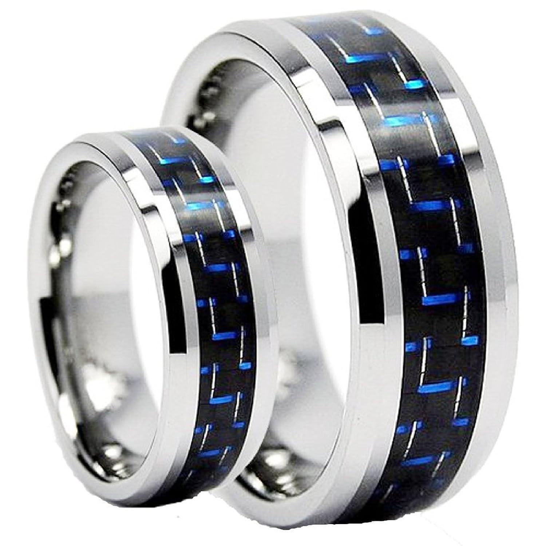 amazoncom men women 8mm6mm tungsten carbide wedding band ring set with blue carbon fiber inlay jewelry - Tungsten Wedding Ring Sets