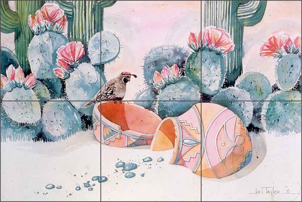 Artwork On Tile Ceramic Mural Backsplash Desert Gambel by Jan Taylor Kitchen Shower Bathroom (18'' x 12'' - 6'' tiles)