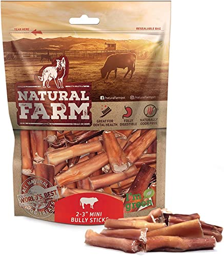 Natural Farm Small Bully Stick Bites 2-3 Inches 1 LB. Value Pack All Raised Beef Dog Treats Odor-Free, Grain-Free Fully Digestible Chews for Small, Medium, Large Breeds