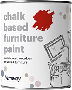 Hemway Ruby Red Chalk Based Furniture Paint Matt Finish Wall and Upcycle DIY Home Improvement 1L / 35oz Shabby Chic Vintage Chalky (50+ Colours Available)