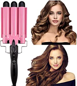 Ausale Curling Iron 3 Barrel Hair Waver Stylish Fast Heating Hair Curlers Temperature Adjustable Ceramic Beach Waver Hair Curlers New Hair Styling Tools (Pink) (20mm)