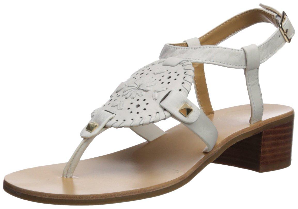 Jack Rogers Women's Gretchen Heeled Sandal, White, 8 Medium US