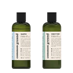 Common Ground Natural Shampoo and Conditioner Set; Paraben and Cruelty Free, Organic, Vegan, Plant-Based, Botanical Scent and Avocado Oil Extract, for Men and Women 8.4 Fl Oz (2 Items)