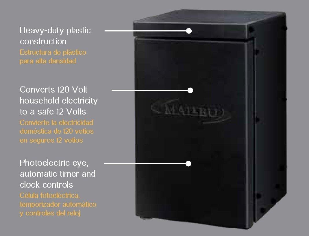Malibu 200-Watt Transformer with Timer and Sunlight Sensor for Low Voltage Landscape Lighting 120V Input 12V Outdoor - - Amazon.com