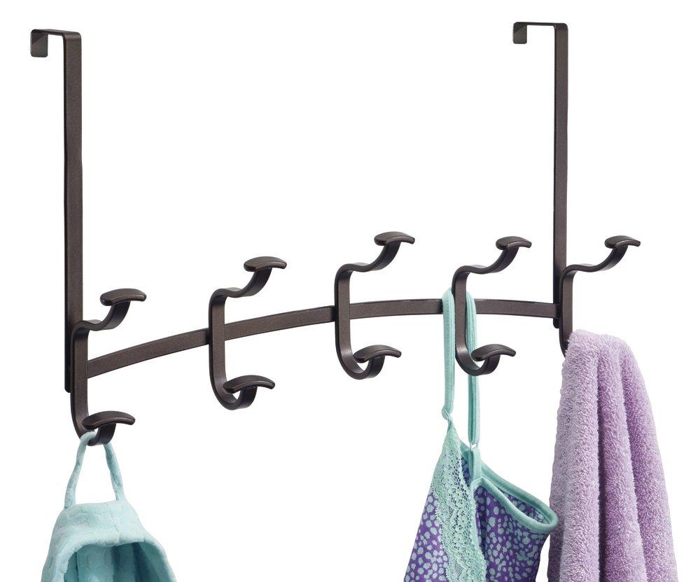 mDesign Spa Over the Door 10-Hook Rack for Coats, Hats, Robes, Towels - Bronze