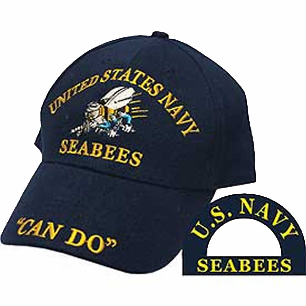 UNITED STATES NAVY SEABEES ''CAN DO'' Direct Embroidered Hat - Color - Veteran Owned Business