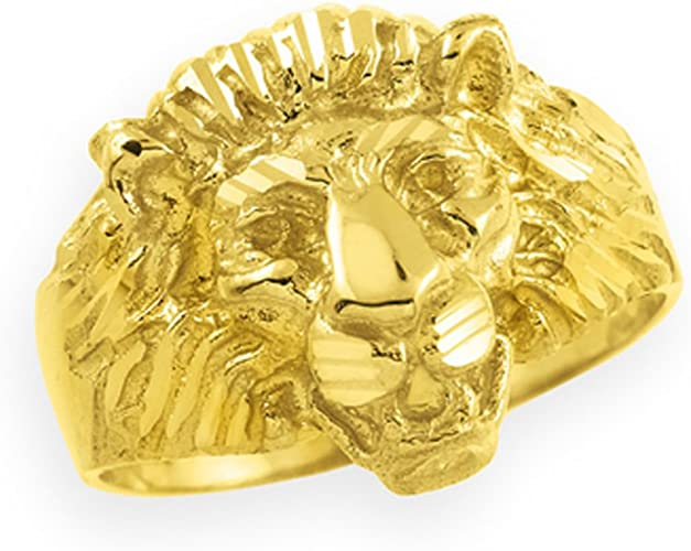 Animal Kingdom 10k Gold Lion Head Men S Ring Amazon Com