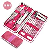 Nail Clippers Set, JJcall 18 Piece Stainless Steel Manicure Kit,Manicure Pedicure Travel Sets Perfect for Women &Men with Luxurious Case. (Rose)