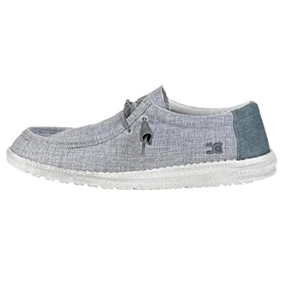 Hey Dude Men's Wally Woven Loafers, Grey, Woven Fabric, Textile, Memory Foam