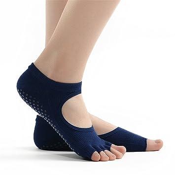 Maybesky Calcetines de Yoga Sra. con los Dedos Abiertos Halter Finos Pilates Antideslizantes Calcetines de Piso Pilates, Calcetines Antideslizantes (Color ...