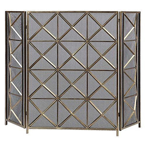 Uttermost 3 Panel - Uttermost Akiva Champagne Fireplace Screen