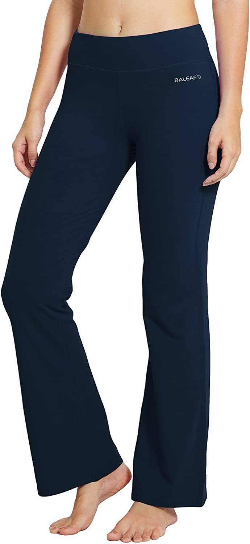 Amazon Com Baleaf Women S 30 Bootcut Regular Tall High Waisted Yoga Pants Bootleg Jazz Cotton Pants Clothing
