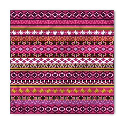 Ambesonne Unisex Bandana, Pink African Motifs Folk Border, Pink White